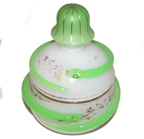 Opaline Glass Jar with Gilded Snake Motif