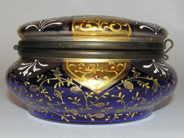 Antique Silvered Round Glass Dresser Box