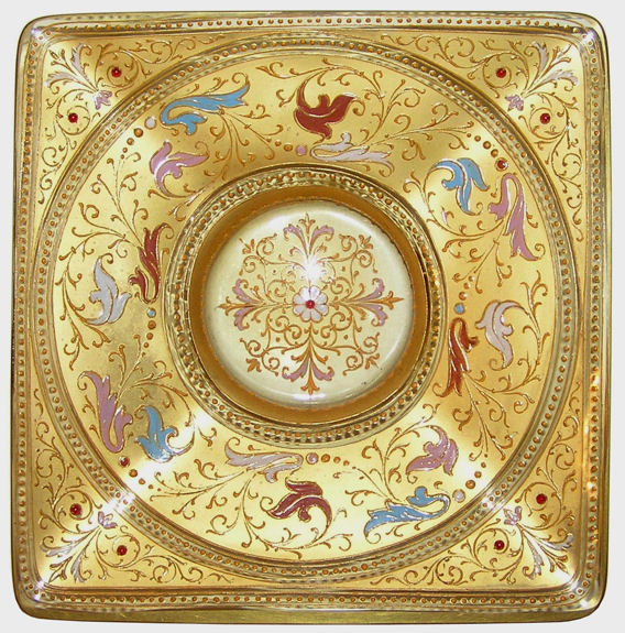 Gilded Enamelled Footed Glass Platter