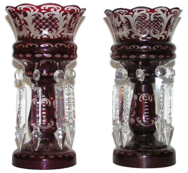 Pair Bohemian RubyFlashed Lustres