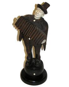 Antique Wooden Accordian Player Figurine