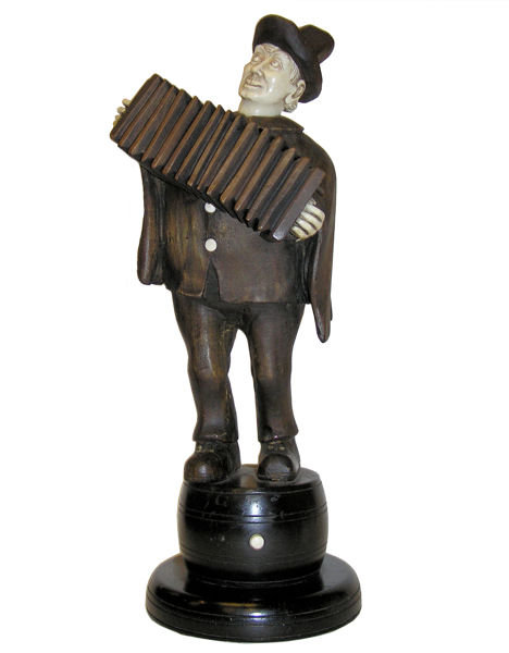 Antique Wooden Accordian Player Figurine