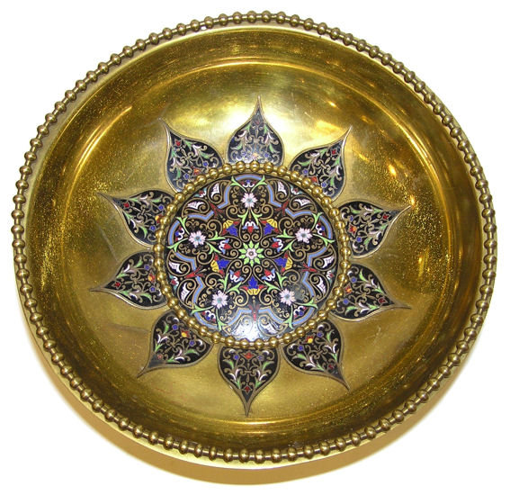 Champleve Enamelled Brass Bowl