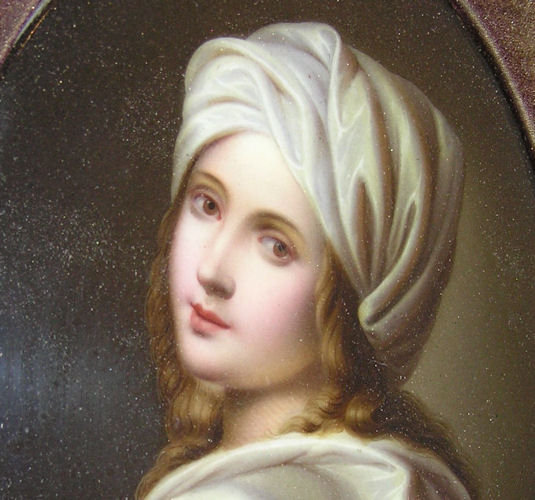 Antique Beatrice Cenci Porcelain Plaque After Guido Reni