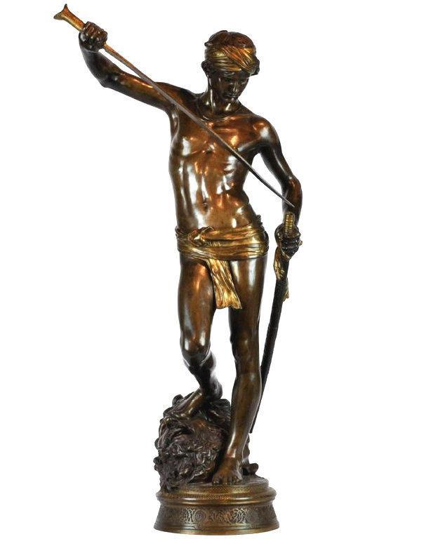 Antonin Mercie (1845-1916) Bronze Sculpture of David & Goliath