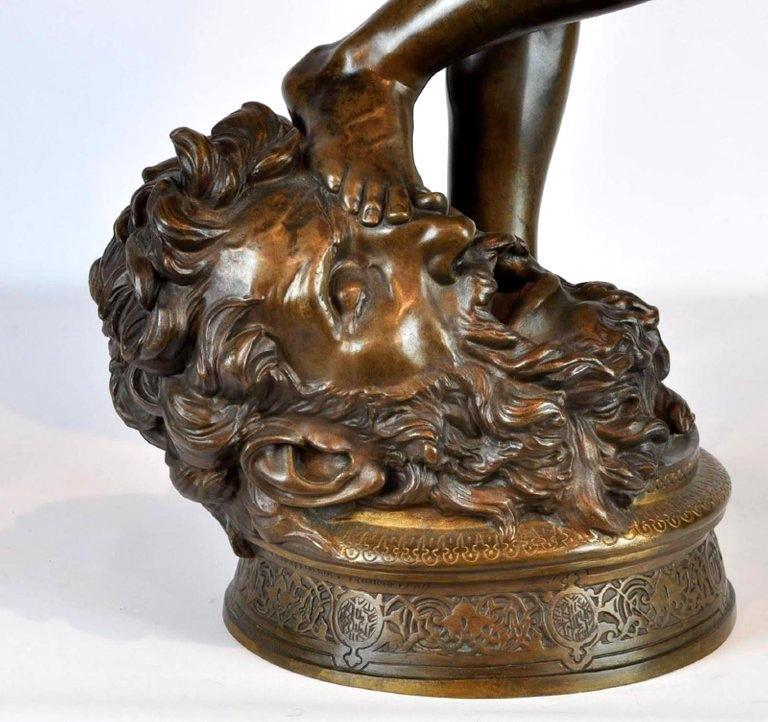 Antonin Mercie (1845-1916) Bronze Sculpture of David & Goliath