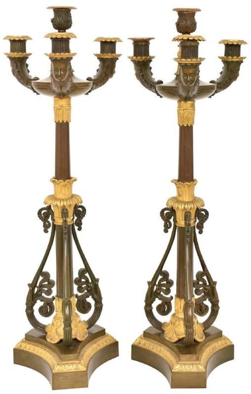 Pair Antique French Empire Style Gilt and Patinated Bronze Candelabra