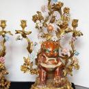 Pair Antique Chinese Sancai Pottery Foo Dog and Bronze Candelabra