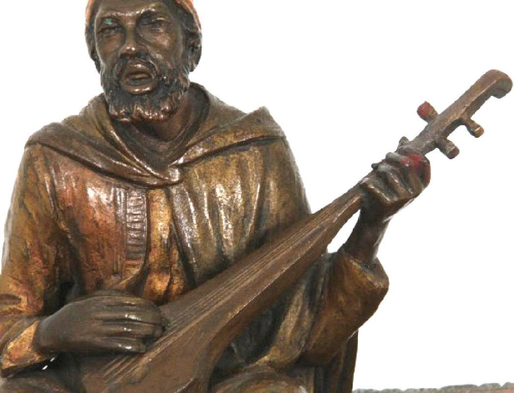 Antique Austrian Orientalist Cold Painted Bronze Figurine of Musician