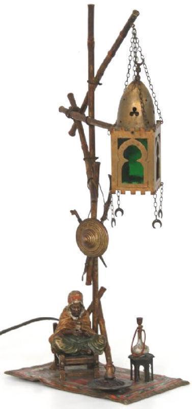 Franz Bergman Orientalist Cold-Painted Bronze Lamp