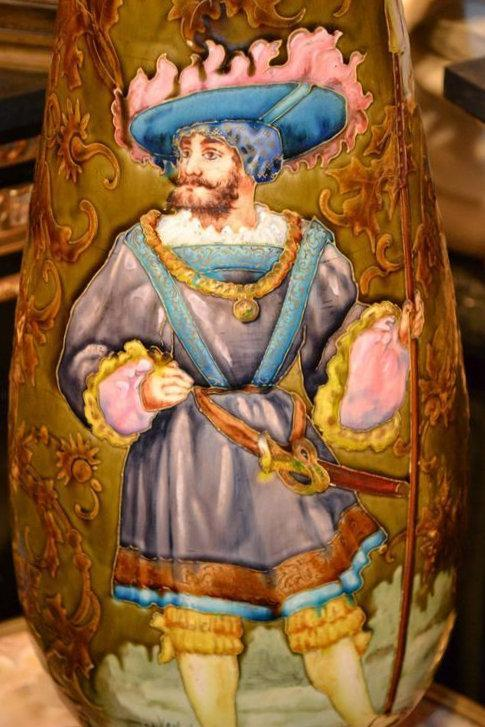Antique Earthenware or Stoneware Vase Depicting Cavalier After Francois Lafon