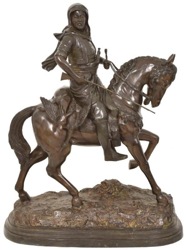 Large Orientalist Arab Hunter Bronze Sculpture After Guillemin & Barye