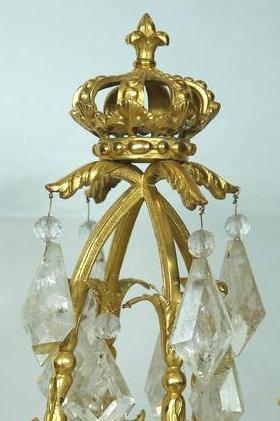 Pair French Regence Style Gilt Bronze and Rock Crystal Candelabra