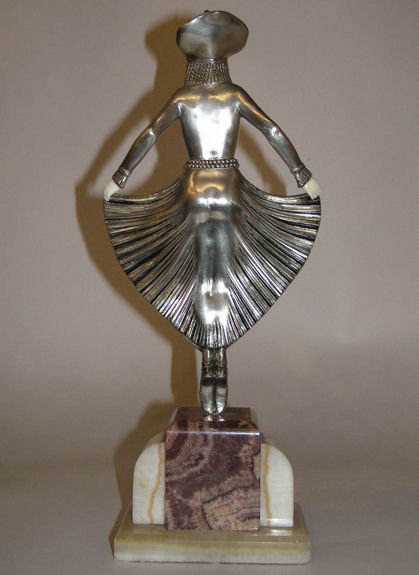 Georges GORI Art Deco Silvered Figurine