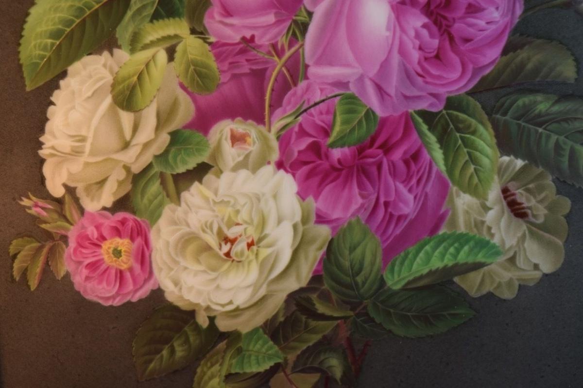 Antique KPM Porcelain Plaque Depicting Peony Flowers
