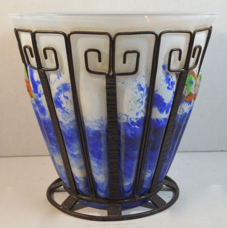 Art Deco Iron Mounted Blown-Out Glass Vase Attributed to Louis Majorelle for Daum