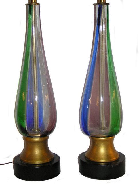 Pair Mid-Century Venini Murano Table Lamps