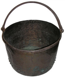 Large Antique English Copper Cauldron Kettle