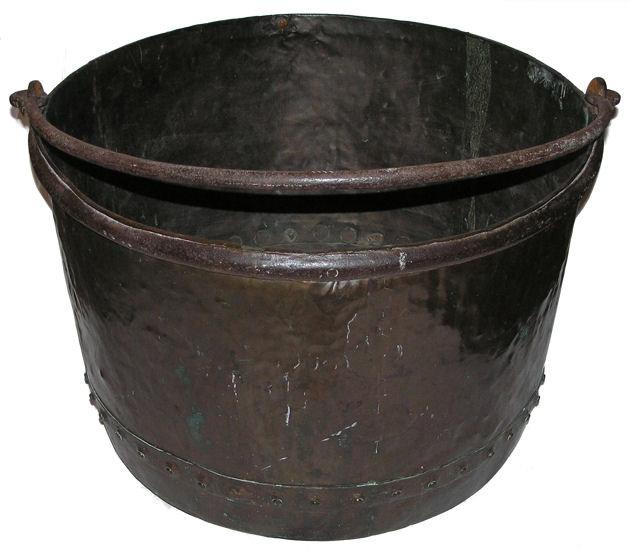 Large Antique English Copper Cauldron Kettle