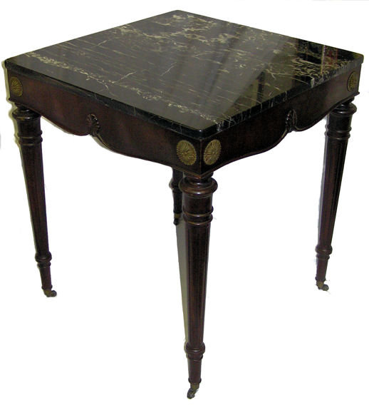 Vintage Marble Mahogany Classical Side Table