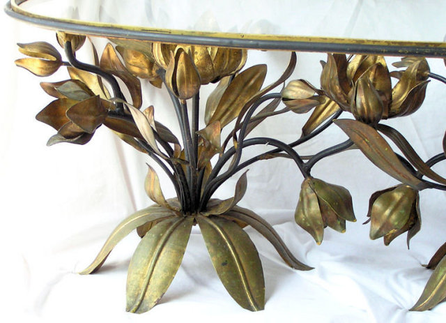 Vintage Tole Metal Glass Coffee Table