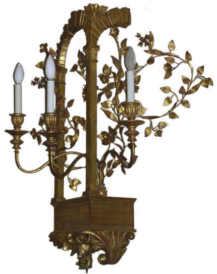 Neoclassical Giltwood & Metal Wall Sconce