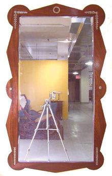 Vintage Art Deco Walnut Neoclassical Mirror