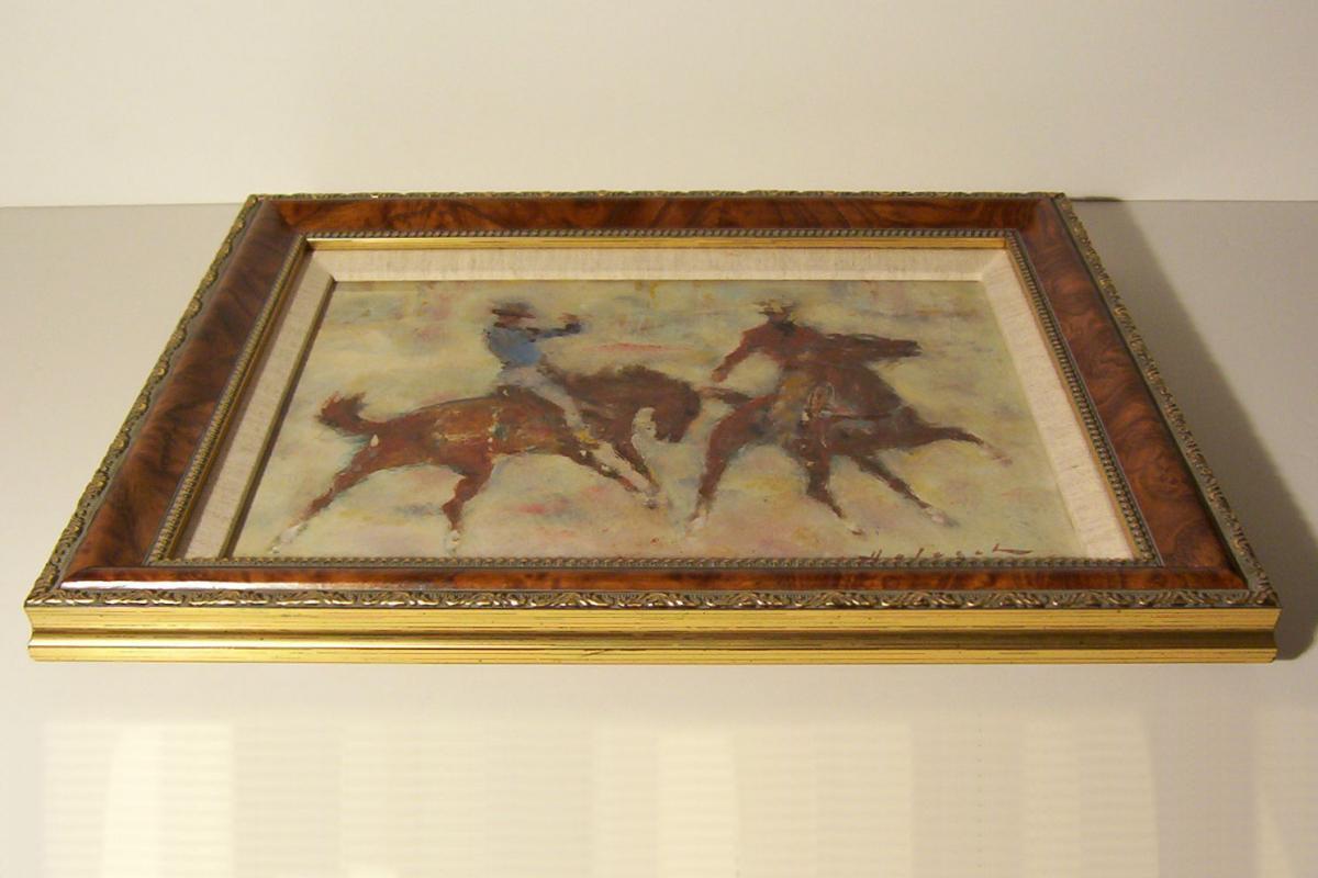Denes de Holesch Calgary Cowboys Rodeo Horses Painting