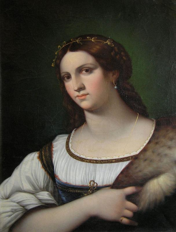 Italian Master Luigi del Buono Female Portrait Oil Painting After Sebastiano del Piombo