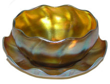 Tiffany Favrile Glass Bowl & Underplate