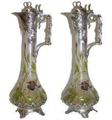 Pair Art Nouveau WMF Pewter Claret Jugs