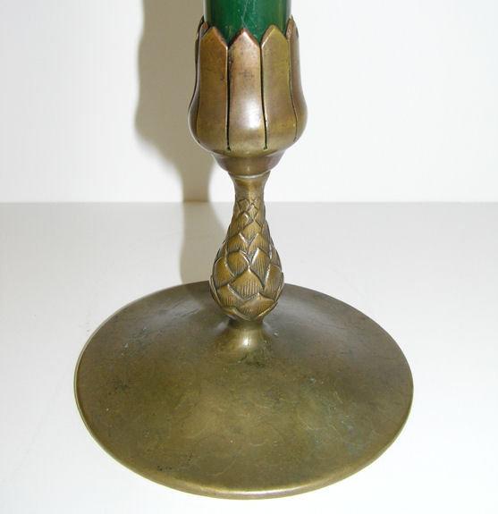Tiffany Bronze & Glass Flower Bud Vase