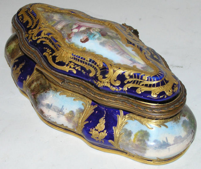 French Sevres Style Porcelain Dresser Box