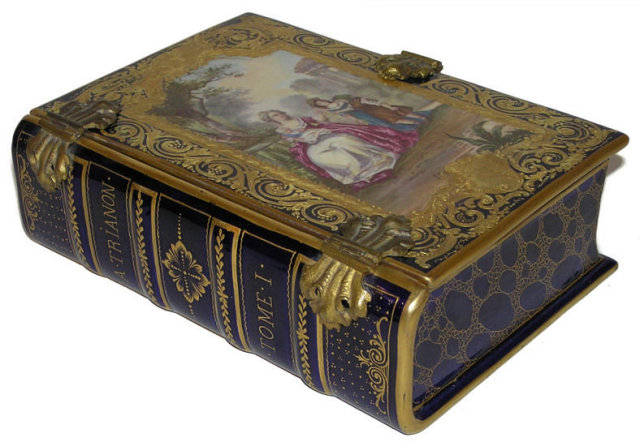 Antique Sevres Style Porcelain Book Form Box
