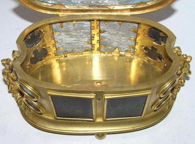 Ormolu Metal Pietra Dura Dresser Box