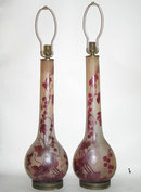 Pair French Art Deco Period Legras Cameo Glass Table Lamps