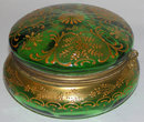 Bohemian Round Green Glass Powder Box