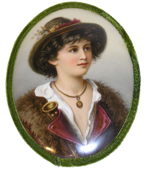 German Boy Portrait Porcelain Plaque