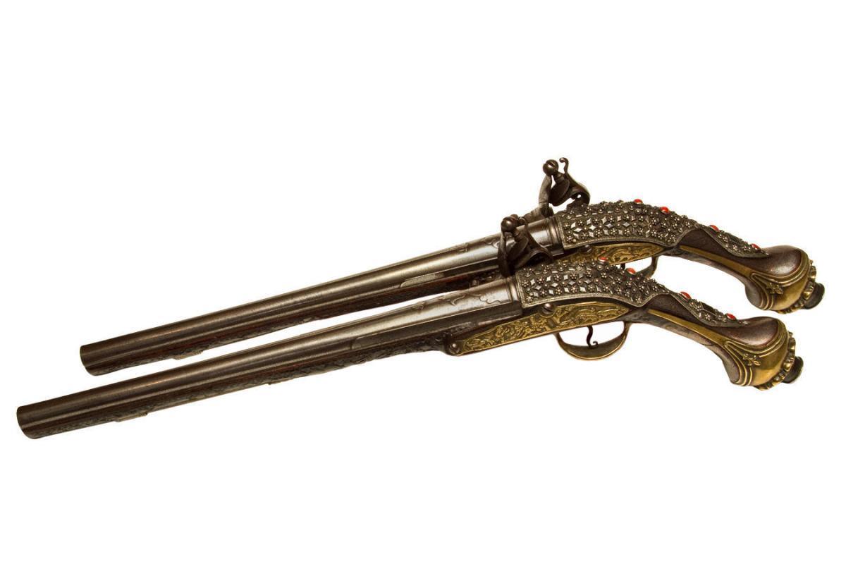 Pair Antique Turkish Ottoman or Persian Jeweled Pommel Gun Pistols