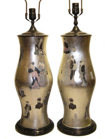 Pair Japanese Foil Decorated Table Lamps