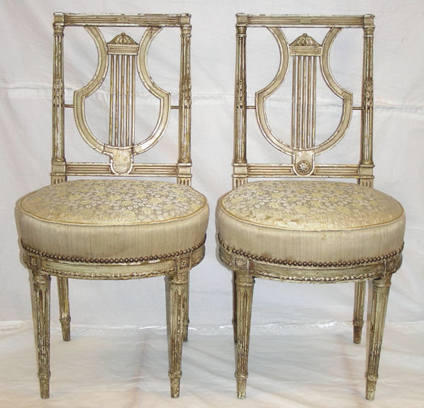 Pair French Louis XVI Period Side Chairs