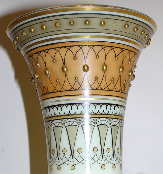Pair Egyptian Motif Opaline Glass Vases