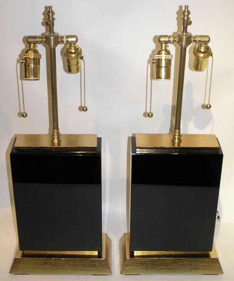 Pair Modern Black Obsidian Table Lamps