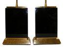Pair Modern Black Obsidian Table Lamps