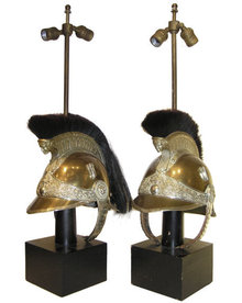 Pair French Military Helmet Table Lamps
