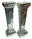 Pair Neoclassical Mirrored Glass Pedestals
