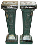 Pair Neoclassical Mirrored Glass Pedestals