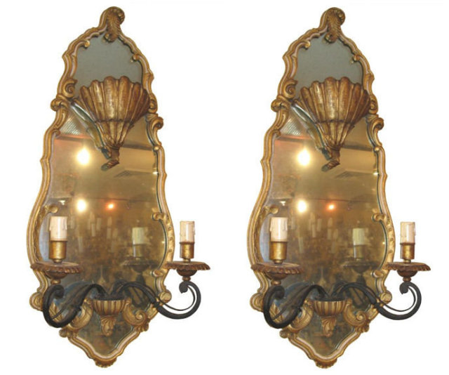 Pair of Tall French Mirrored Sconces by Maison Jansen