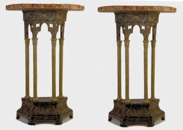 Pair Gothic Revival Faux Marble Consoles