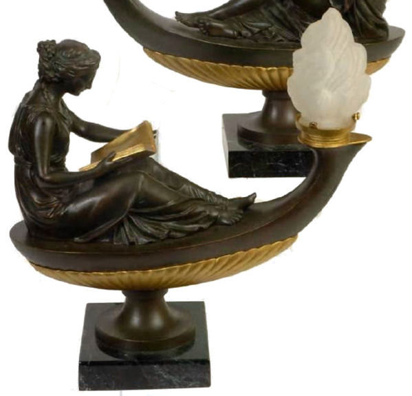 Pair Classical Bronze Electrified Oil Lamps
